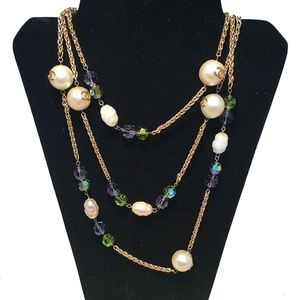 Chanel Vintage Pearls and Crystal Beaded Necklace